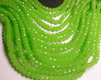 Crystal faceted rondelle - 88 beads - 6 mm - A quality - lime green - full strand - DAC51