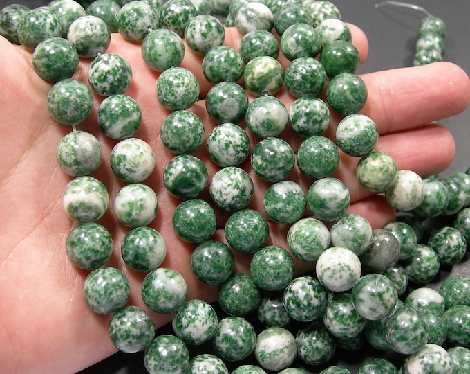 Green spot Jasper - 12 mm - round bead - 33 beads - full strand - RFG2054