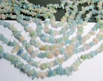 Beryl mix  - chip stone - 36 inch strand - Morganite - aquamarine - heliodor  - PSC75