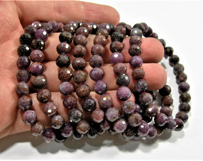 Ruby - 7.5mm faceted round beads - 24 beads - 1 set - Corundum mineral - HSG113