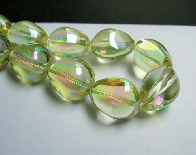 Crystal nugget - 18 pcs - 17mm x 14mm - tear drop nugget - lemon lime - ab - CRV45