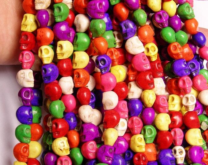 Howlite skull - multicolor  - 10mm  - full strand - 41 beads - carve skull - THT2