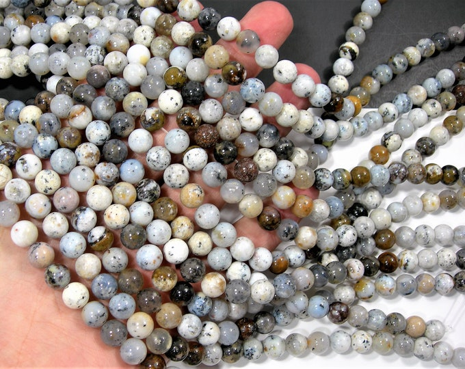 Dendritic Opal - 8mm round beads - full strand - 48 beads - Dendritic moss opal - RFG1276