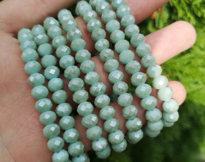 Crystal elastic - 29 beads - 8 mm - 1 set - turquoise khaki - HSC15