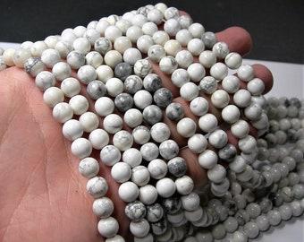 White Howlite - 8mm round beads - 16 inch strand - 49 beads - cream white howlite - WHOLESALE DEAL - RFG1642