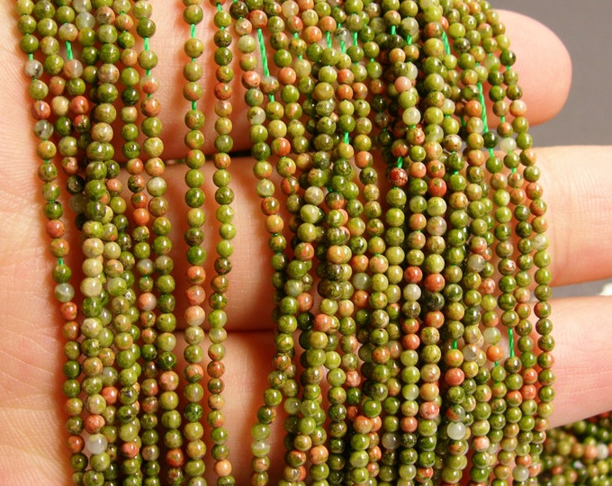 Unakite - 2 mm round beads -1 full strand - 180beads - A quality