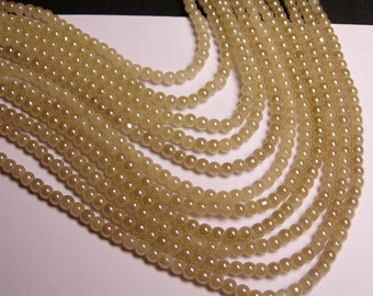 Crystal - round - 4mm - Beige - full strand - 75 beads - pearlized - P1A
