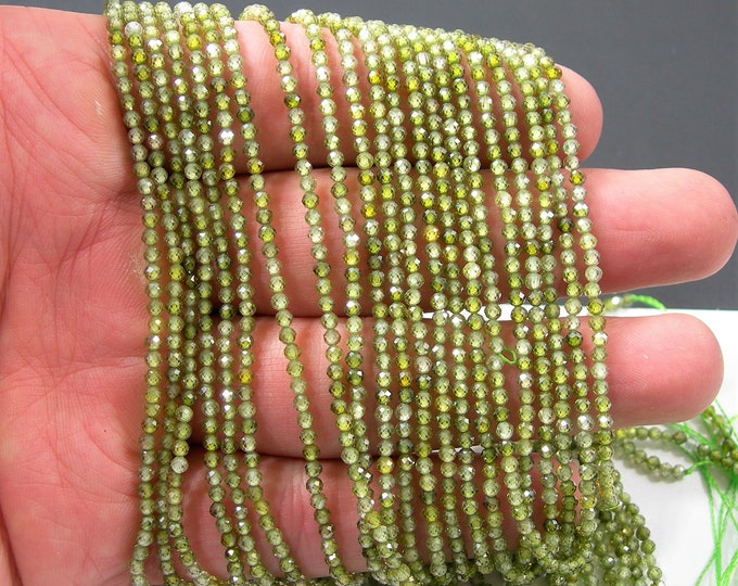 Green Cubic zirconia - 2.3mm micro faceted round beads -  full strand - 172 beads -  Green CZ - PG347