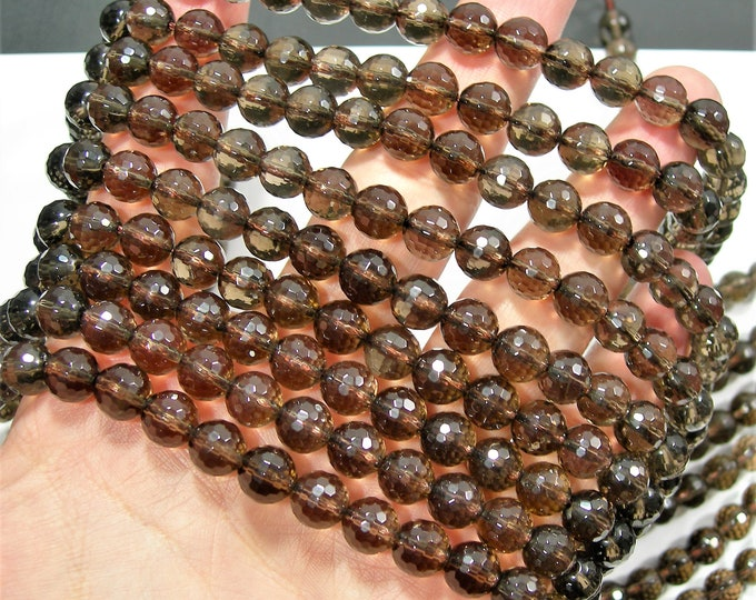 Smoky Quartz - 8mm(8.3mm) faceted round beads -  full strand - 47 beads - A quality - small cut facet - RFG543