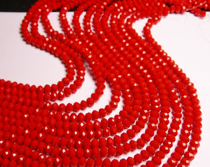 Crystal faceted rondelle - 98 beads - 6 mm - AA quality - opaque - red orange - full strand - CBFB19