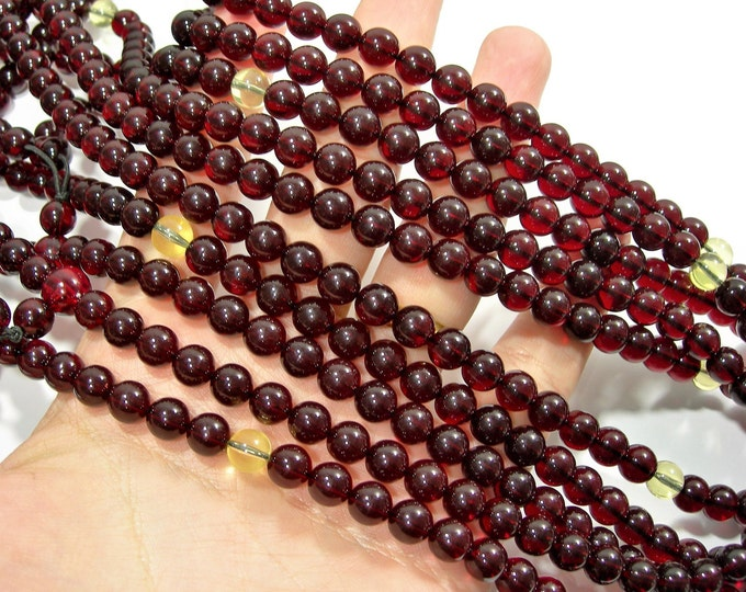 Amber Reconstituted - 8mm  round - 34 inch  strand - 108 beads - RFG1790
