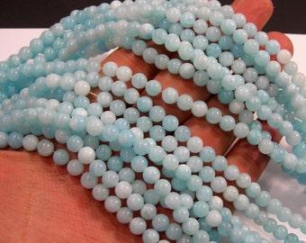 Malaysia Jade - 6 mm round beads - full strand - 62 beads - Light Aqua blue Jade - RFG2007