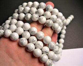 White Howlite turquoise - 12 mm round beads -1 full strand - 32 beads - RFG243