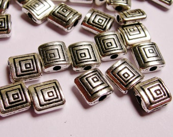 Silver color  beads hypoallergenic- 50 pcs -  engraved square spacer - ZAS42