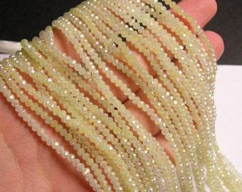 Crystal - rondelle faceted 3.5mm x 2.5mm beads - 148 beads - light lemon - full strand - CRV75