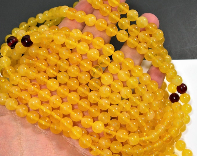 Amber Reconstituted - 8mm  round - 34 inch  strand - 108 beads - RFG1789