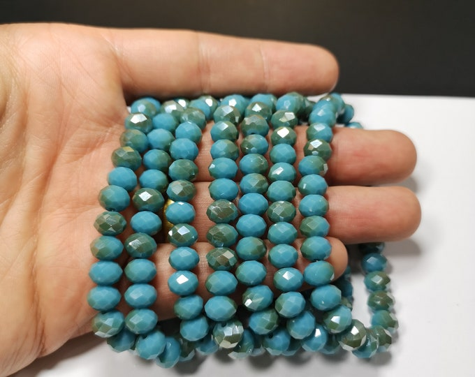 Crystal elastic - 29 beads - 8 mm - 1 set - Dual tone blue - HSC10