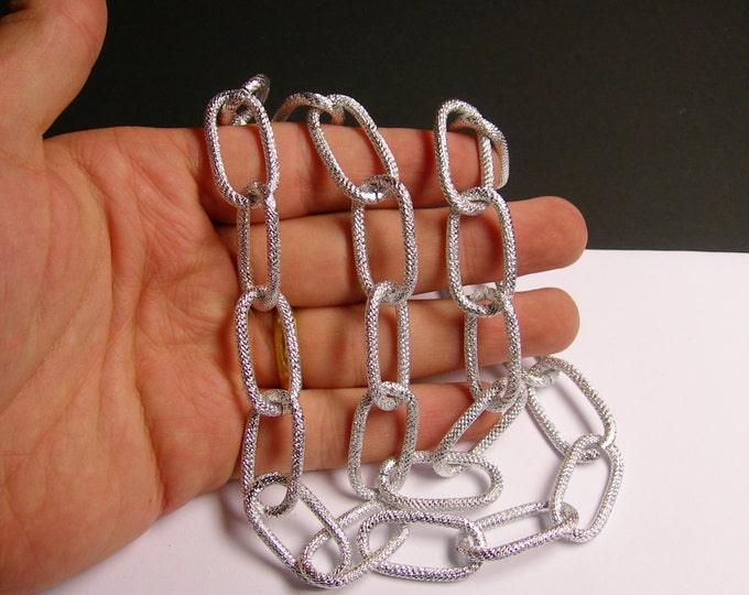 Silver chain  - lead free nickel free won't tarnish - 1 meter-3.3 feet  - made from aluminum - textured - NTAC33
