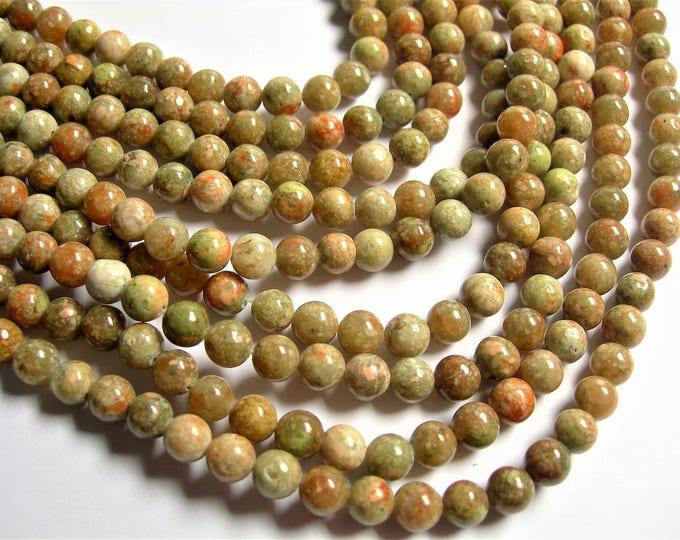 Unakite - 6 mm round beads -1 full strand - 64 beads - A quality - Autumn  jasper - RFG1270