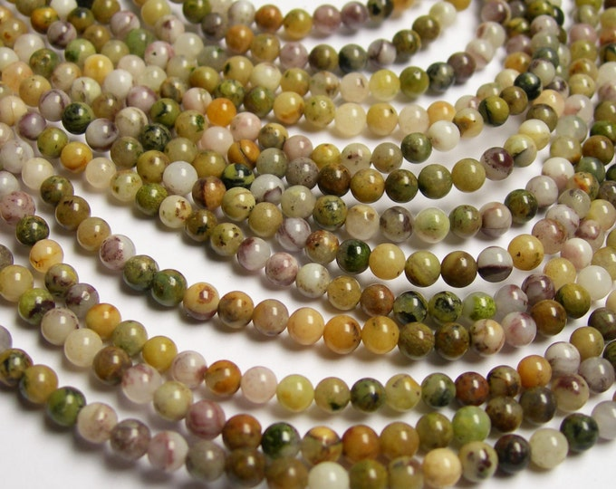 Purple Moss agate - 4mm round beads - full strand - 95 beads - RFG20