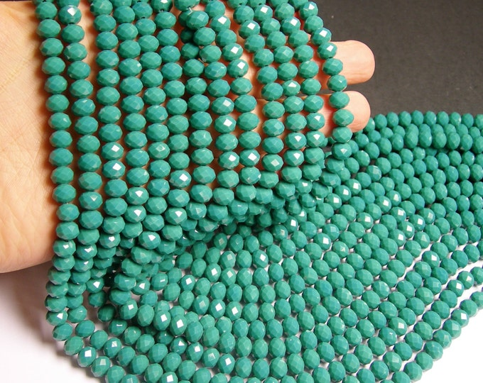 Crystal faceted rondelle - 68 pcs -  8 mm - A quality - full strand - matte emerald green - GSH29