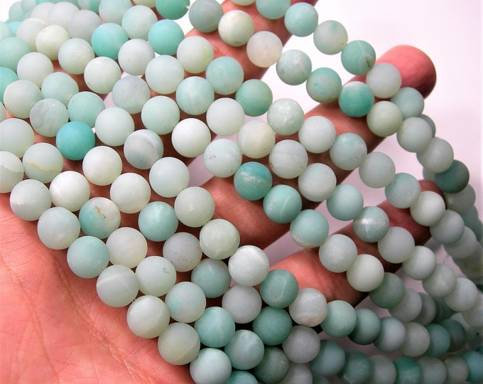 Amazonite - 8mm (8.4mm) round beads - matte - full strand - 47 beads - A Quality - Wholesale Deal - RFG1665