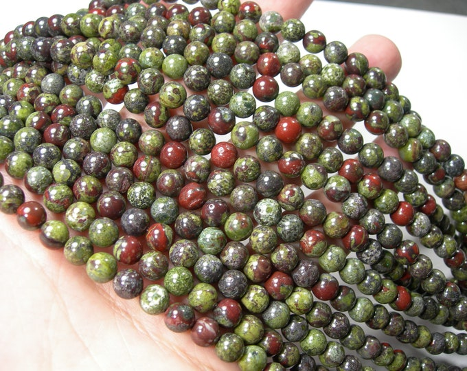 Dragons blood jasper - 6mm(6.5mm) round beads -  full strand - 62 beads  - RFG326