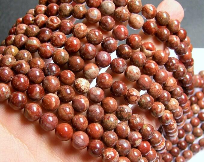 POMEGRANATE RHYOLITE - 8mm round beads -  full strand - 50 beads - RFG896