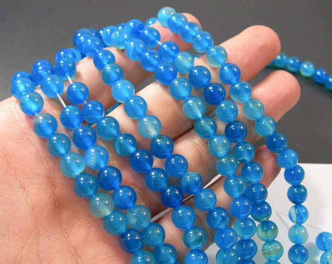 Blue Agate - 8mm round beads - full strand - 47 beads -  RFG2144