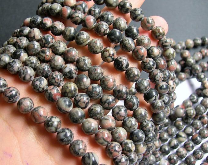 Crinoid  Jasper - 8mm  round beads -1 full strand - 48 beads - RFG449