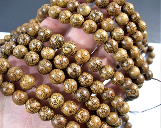 Wenge wood - 10 mm round beads - full strand - 41 beads - RFG1775