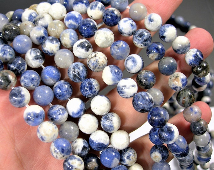 Sodalite - blue white - 8 mm round beads - full strand - 48 beads - RFG1741