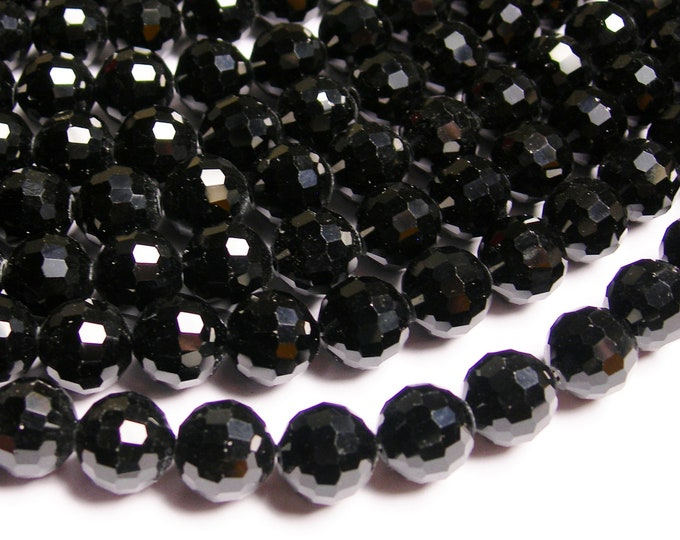 Crystal - round faceted 12mm beads - 20 pcs - AA quality - black