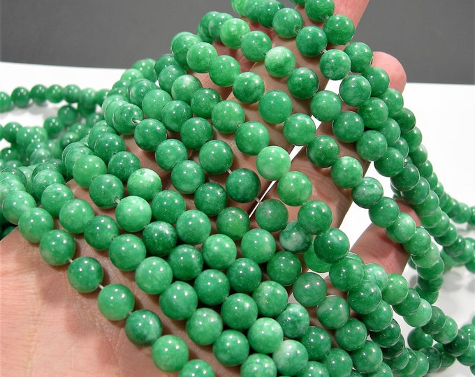 Malaysia Jade  - 8 mm round beads - full strand - 48 beads - color green Jade - RFG1901