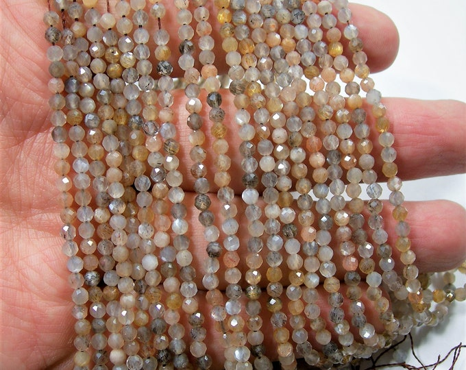 Mix Moonstone - 3mm micro faceted round beads -  full strand - Grey beige mix moonstone - 130 beads - A Quality - PG256