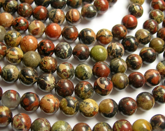 Poppy jasper - 8 mm round beads -1 full strand - 50 beads - Poppy jasper - RFG937