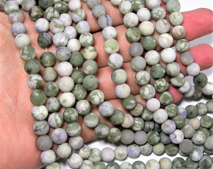 Peace Jade matte - 8 mm round  beads - 49 beads per strand - Lucky jade - harmony  jade - RFG1892