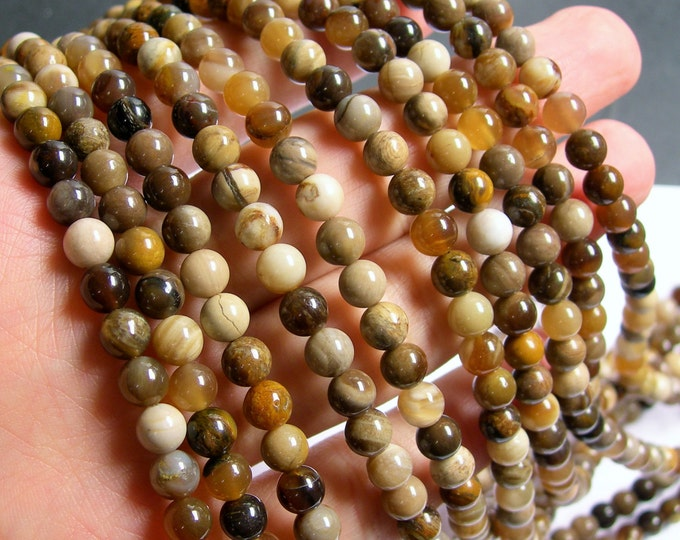 Petrified wood - 6mm round beads -1 full strand - 66 beads - fossilized wood - RFG590