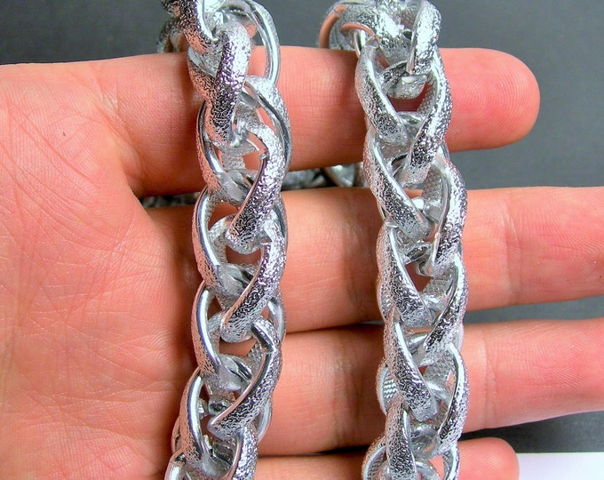 Silver chain - 1 meter-3.3 feet - made from aluminum - Chainmaille style - textured -  NTAC126