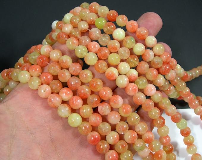 Malaysia Jade - 8 mm round beads - full strand - 48 beads - Dual tone peach lime Jade - RFG2014
