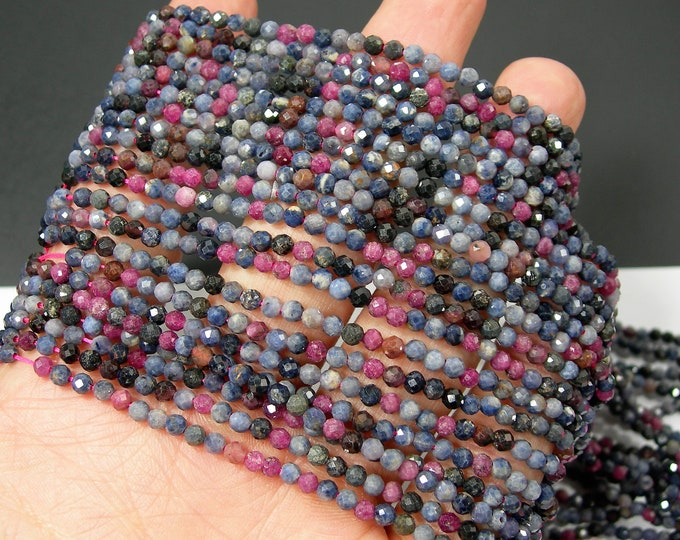 Sapphire Ruby - 3mm(3.2mm) micro faceted round beads - full strand - 123 beads - Mix tone Corundum mineral - PG319