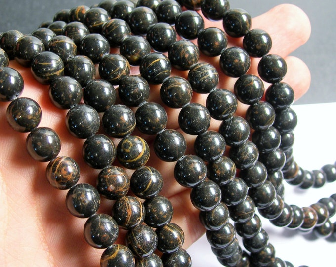 Obsidian - 10 mm round beads - full strand - 50 beads - A quality - black brown obsidian - RFG565