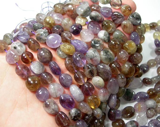 Auralite 23 - oval  nugget beads - full strand - 33 beads - RFG2200