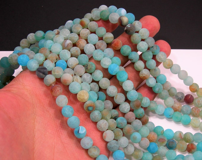 Blue crackled agate - 8mm round beads - Matte- full strand - 48 beads - Aqua blue fire crackle agate -  RFG2011