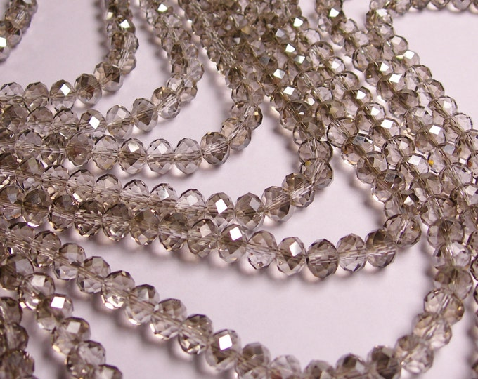 Crystal faceted rondelle - 72 pcs -  8 mm - AA quality - sparkle Ab Grey -  full strand - RCFNC14