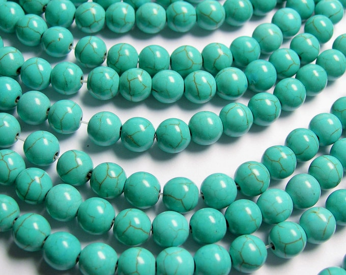 Turquoise Magnesite -  8mm beads -  full strand -  50 pcs - A Quality - Wholesale deal -  RFG831