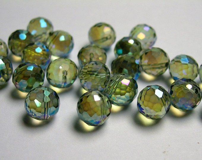 Crystal faceted 8mm round top drill  beads - 24 beads - AA quality - mystic rainbow - TDC7