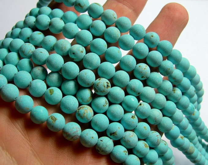 Howlite turquoise matte -  8mm beads -  full strand 48 pcs -  A Quality - RFG846