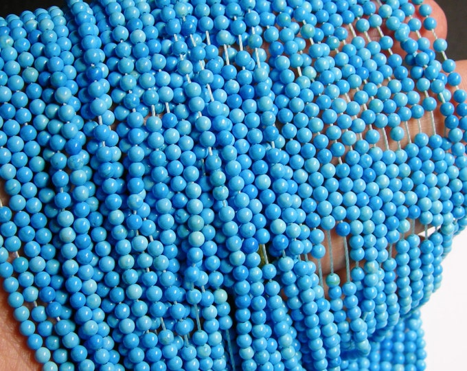 Howlite turquoise - 3mm round beads -1 full strand - 130 beads - AA quality