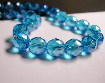 Crystal faceted rounded - 12 pcs - 10 mm - AA quality - aqua blue - Ab -  CFHBC4